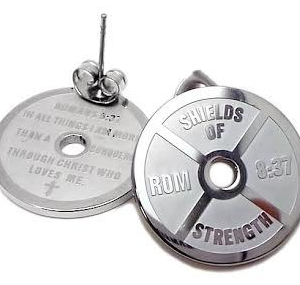 Stainless Steel Mini Weight Plate Stud Earrings